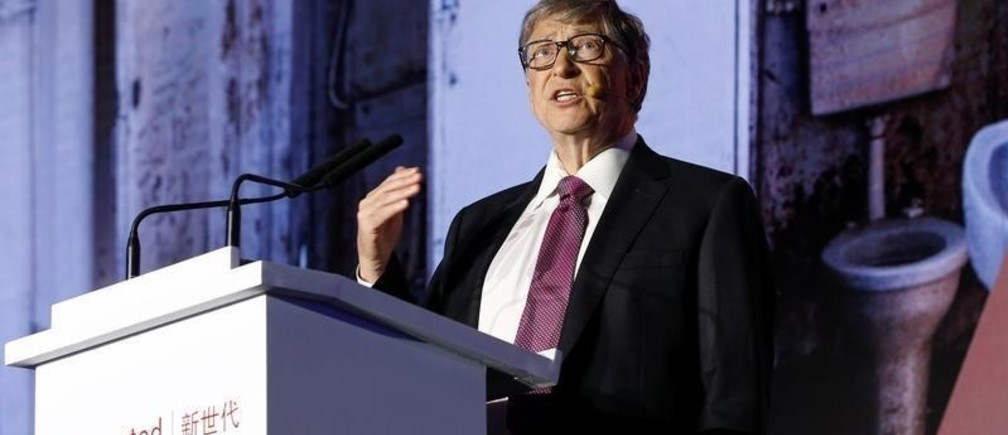 Microsoft founder Bill Gates speaks during the opening ceremony of the Reinvented Toilet Expo showcasing sewerless sanitation technology in Beijing, China November 6, 2018. REUTERS/Thomas Peter - RC126B93CF90