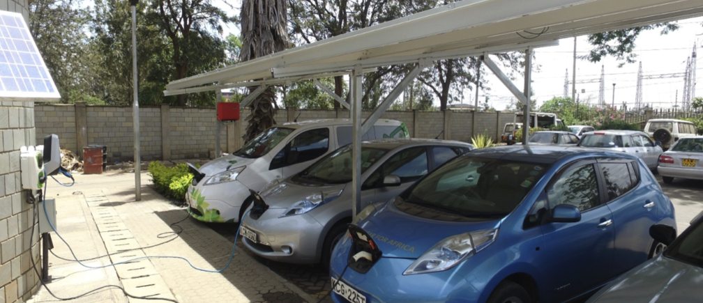 Electric cars charging from solar photovoltaic panels in Nairobi, Kenya