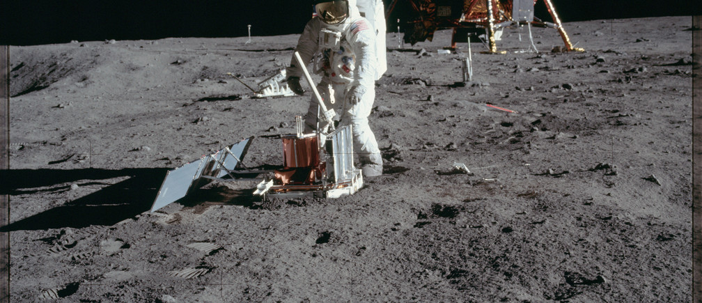 "Astronaut Edwin E. Aldrin Jr., lunar module pilot, deploys a scientific research package on the surface of the moon near the Lunar Module (LM) ""Eagle"" during the Apollo 11 extravehicular activity (EVA) in this July 20, 1969 NASA handout photo. The photograph is one of more than 12,000 from NASA's archives recently aggregated on the Project Apollo Archive Flickr account.  REUTERS/NASA/Handout via Reuters  ATTENTION EDITORS - THIS IMAGE WAS PROVIDED BY A THIRD PARTY. EDITORIAL USE ONLY - TM3EC7Q1CAJ01"