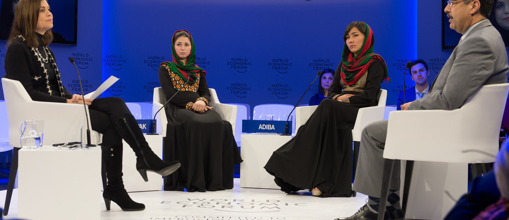 Joanne Lipman, Editor-in-Chief, USA Today Network, USA, Negin Khpolwak, Conductor, Zohra Orchestra, Afghanistan National Institute of Music (ANIM), Afghanistan, Zarifa Adiba, Conductor, Zohra Orchestra, Afghanistan National Institute of Music (ANIM), Afghanistan, Ahmad Sarmast, Founder, Afghanistan National Institute of Music (ANIM), Afghanistan speaking during the Session: Artists on the Frontlines: Fighting the Taliban with Music at the Annual Meeting 2017 of the World Economic Forum in Davos, January 19, 2017.Copyright by World Economic Forum / Sandra Blaser