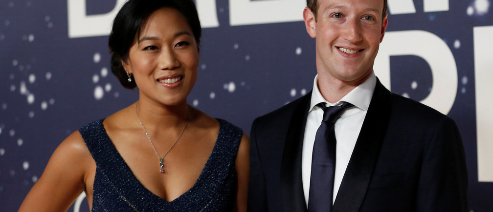 Philanthropists Mark Zuckerberg, founder and CEO of Facebook, and Priscilla Chan.