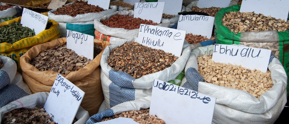 Plants used in traditional medicines are seen on sale at a market in Durban, South Africa, May 25, 2018. REUTERS/Rogan Ward - RC1C49DABEC0