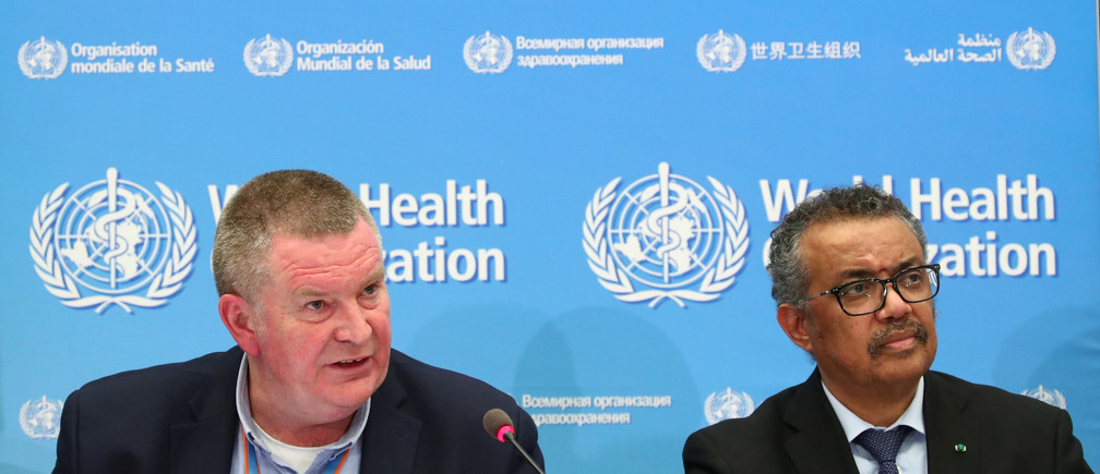Michael J. Ryan, Executive Director of the WHO Health Emergencies Programme and Director-General of the WHO Tedros Adhanom Ghebreyesus, attend a news conference on the coronavirus (COVID-2019) in Geneva, Switzerland February 24, 2020.