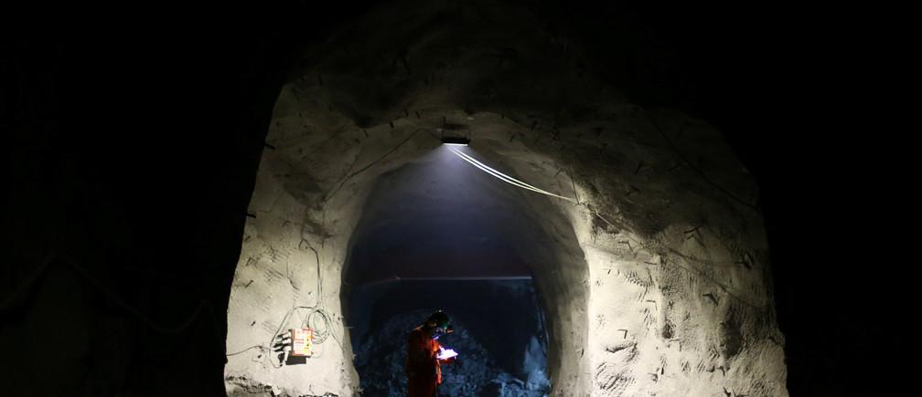 A miner inside El Teniente copper mine, Chile.