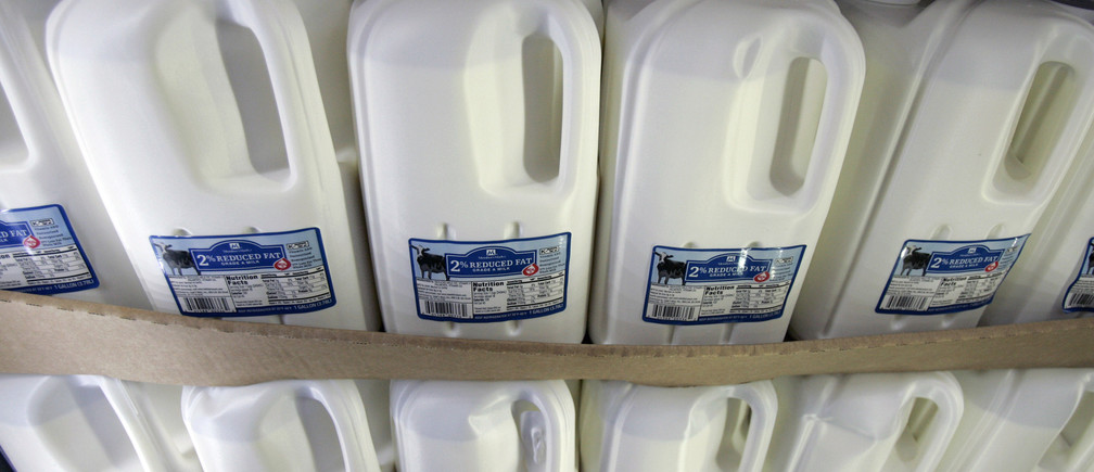 Bottles of milk for sale are displayed at a Sam's Club in Fayetteville, Arkansas in this June 5, 2008 file photo. Many of the more than 60,000 dairy farms in the United States have been cutting costs, selling off their cows, or leaving the dairy business altogether as milk prices plummet 35 percent in just the past two months while dairy-farm operating costs remain uncomfortably high. To match feature FINANCIAL/DAIRY-FARMS   REUTERS/Jessica Rinaldi/Files (UNITED STATES) - GM1E52A0NON01