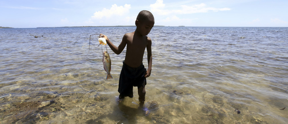 A boy carries a fish back to shore near Mombasa, Kenya.