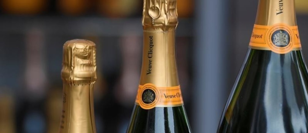 Bottles of Veuve Clicquot champagne are seen at the Ascot racecourse at Ascot, near London, Britain June 22, 2017. REUTERS/Toby Melville - RC151AA1AAB0
