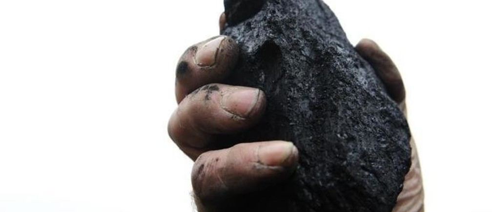 A coal merchant holds up a lump of coal for the camera in his yard in Melmerby, northern England November 5, 2008. A global recession and cheaper coal are likely to cut Britain's demand for natural gas this winter, possibly speeding up the fall in gas prices which have so far lagged behind the slump in oil markets.    Photograph taken on November 5, 2008.    REUTERS/Nigel Roddis    (BRITAIN)