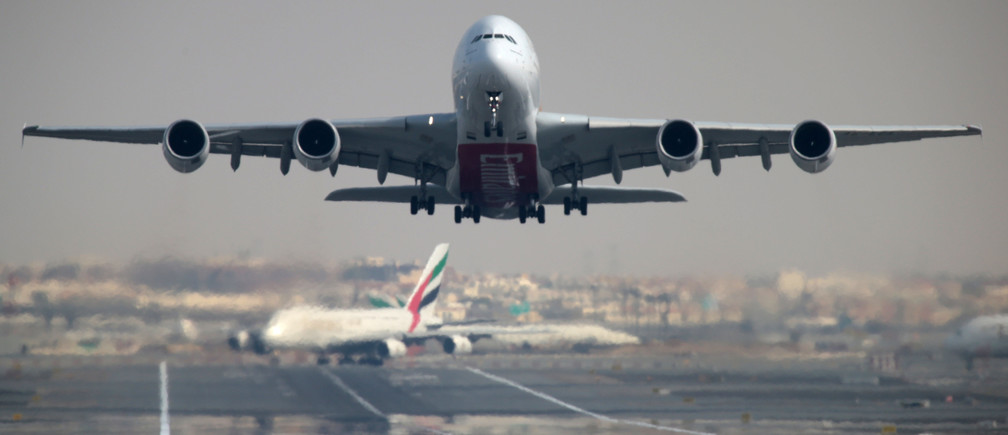 An Emirates Airline Airbus A380-800 plane takes off from Dubai International Airport in Dubai, United Arab Emirates February 15, 2019. REUTERS/Christopher Pike - RC1E53EA7DD0
