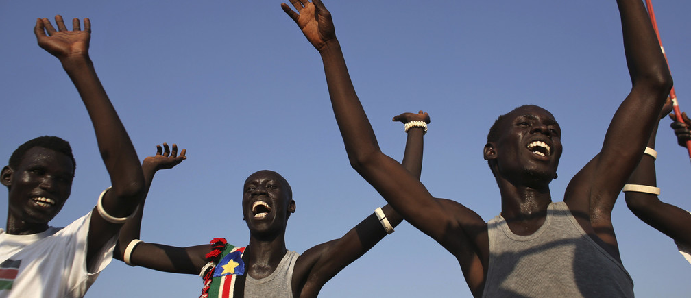 Men sing and dance as they celebrate referendum results in Abyei October