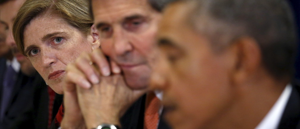 U.S. Ambassador the the U.N. Samantha Power (L) and U.S. Secretary of State John Kerry (C) listen as U.S. President Barack Obama meets with India's Prime Minister Narendra Modi (unseen) at the  United Nations General Assembly in New York September 28,  2015. REUTERS/Kevin Lamarque  - GF10000225409