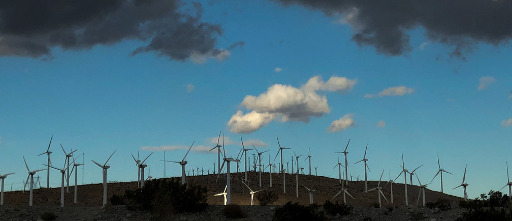 Windmills line a hillside in Palm Springs, California, U.S., November 29, 2019. REUTERS/Lucy Nicholson - RC2BLD9OMVNG