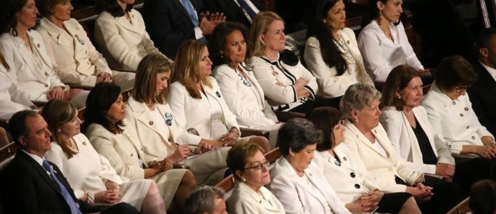 Democratic women of the U.S. House of Representatives listen to U.S. President Donald Trump's second State of the Union address to a joint session of the U.S. Congress in the House Chamber of the U.S. Capitol on Capitol Hill in Washington, U.S. February 5, 2019. REUTERS/Leah Millis - HP1EF2607KU40