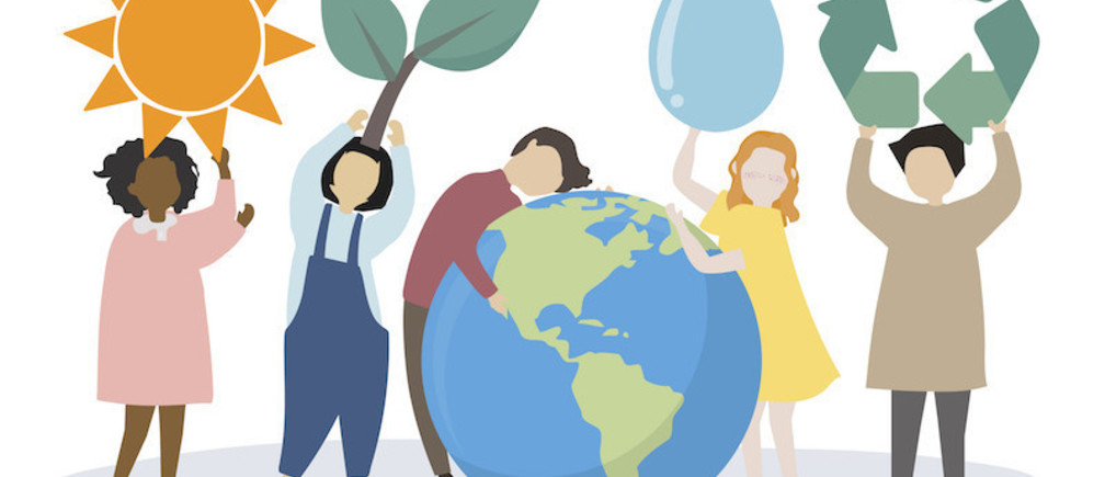 An illustration of people caring about the world and the environment, surrounding a giant globe and holding various symbols for the sun, leaves, water, and recycling respectively