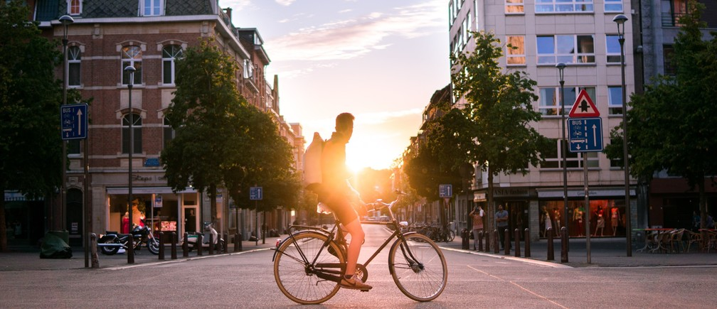 Cyclist in Leuven, Belgium.