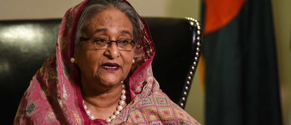 Bangladesh's Prime Minister Sheikh Hasina Wazed speaks with a reporter during the United Nations General Assembly in New York City, U.S. September 18, 2017. REUTERS/Stephanie Keith - RC1E273BC110