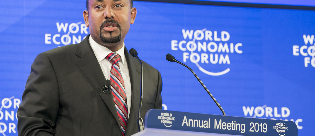"""Abiy Ahmed, Prime Minister of Ethiopia during the Session """"A Conversation with Abiy Ahmed, Prime Minister of Ethiopia"""" at the Annual Meeting 2019 of the World Economic Forum in Davos, January 23, 2019Copyright by World Economic Forum / Benedikt von Loebell"""