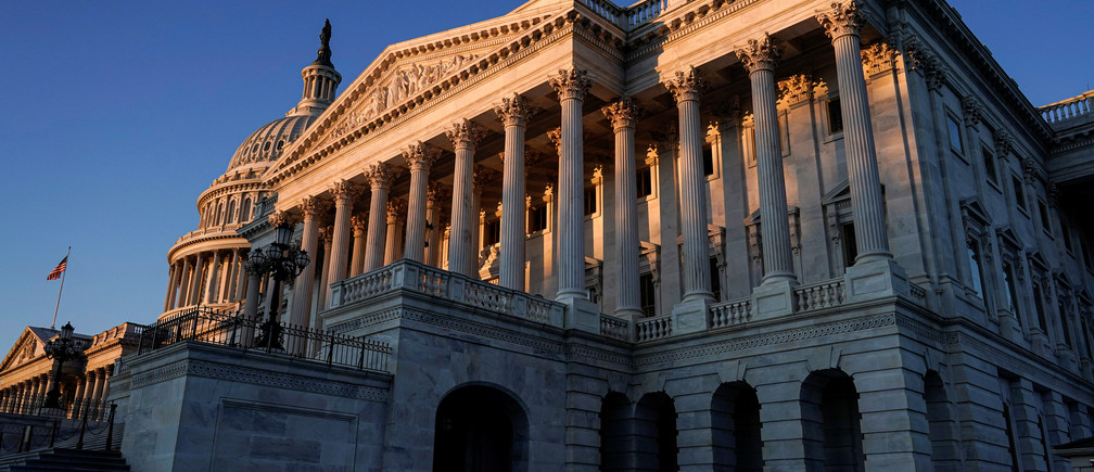 The sun rises on the Senate Building at the U.S. Capitol as the impeachment trial of U.S. President Donald Trump continues in Washington, U.S., January 22, 2020.
