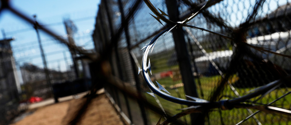 Barbed wire is seen inside the Louisiana State Penitentiary in Angola, Louisiana, March 7, 2018. Picture taken March 7, 2018.    To match Special Report USA-JAILS/LOUISIANA       REUTERS/Shannon Stapleton - RC1CA5F4DFD0