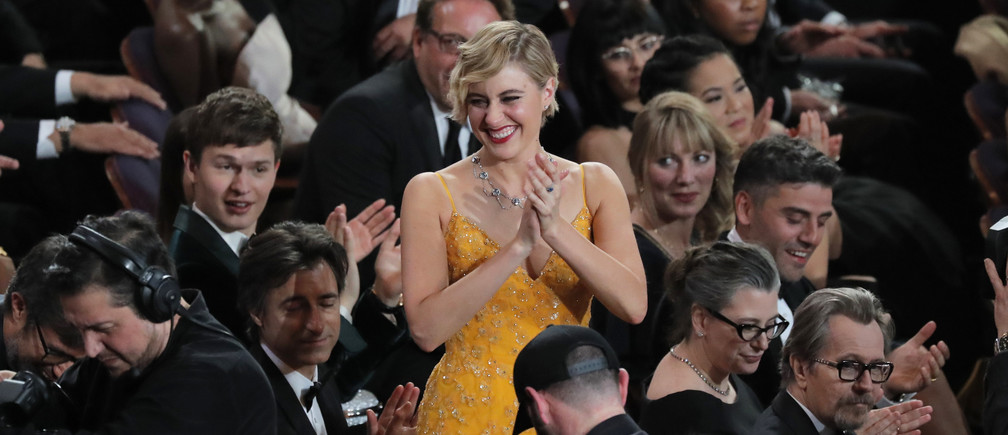 "90th Academy Awards - Oscars Show - Hollywood, California, U.S., 04/03/2018 - Greta Gerwig reacts as Guillermo del Toro is announced as Best Director for ""The Shape of Water."" REUTERS/Lucas Jackson - HP1EE350BXZ52"
