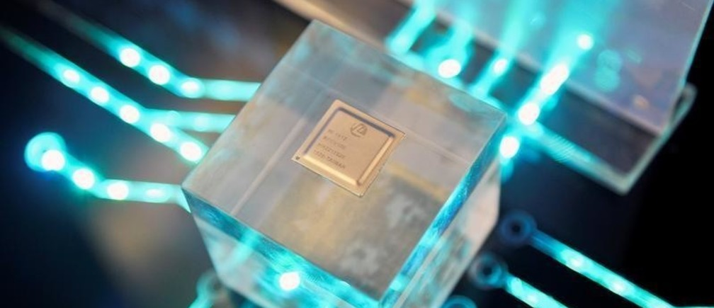A chip by Huawei's subsidiary HiSilicon is displayed at the Huawei China Eco-Partner Conference in Fuzhou, Fujian province, China March 21, 2019. Picture taken March 21, 2019. REUTERS/Stringer  ATTENTION EDITORS - THIS IMAGE WAS PROVIDED BY A THIRD PARTY. CHINA OUT. - RC12DD6EF8E0