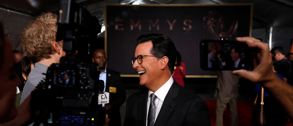 Show host Stephen Colbert is interviewed after the rolling out the red carpet during preparations for the 69th Emmy Awards at Microsoft Theater in Los Angeles, California, U.S., September 12, 2017. REUTERS/Mario Anzuoni - RC17469E1720