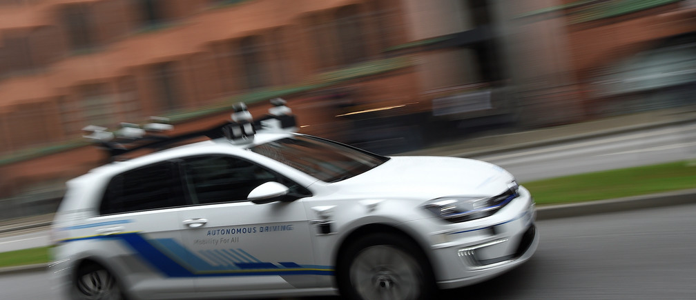 A self-driving Volkswagen car