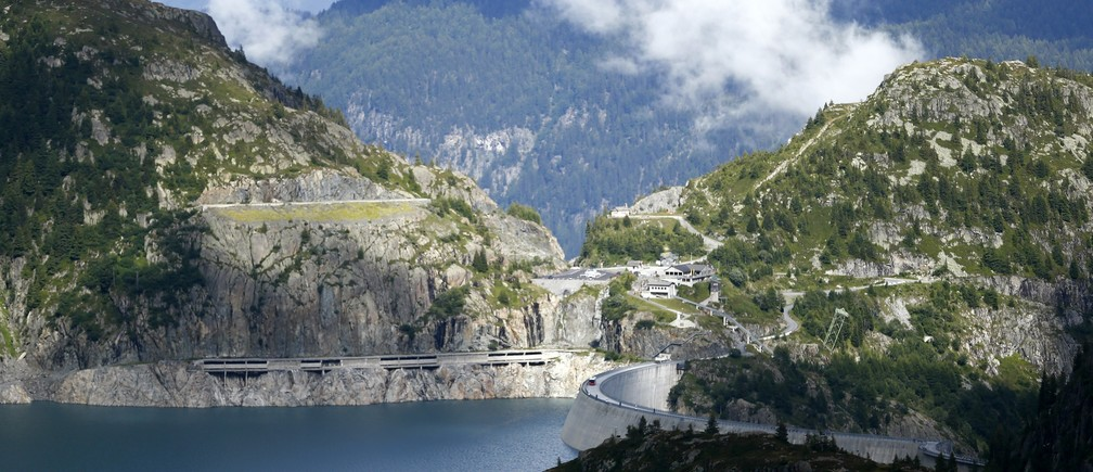 A general view of the Emosson dam is seen during a visit to the Nant de Drance hydropower plant near the village of Finhaut, close to the border between Switzerland and France August 19, 2014.