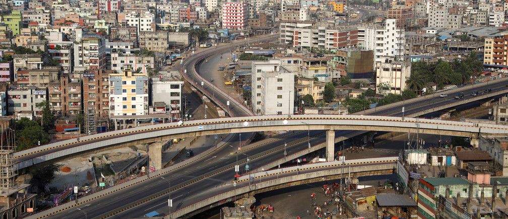 Arial view of an almost empty flyover during countrywide lockdown for coronavirus disease (COVID-19) outbreak in Dhaka, Bangladesh, March 27, 2020.