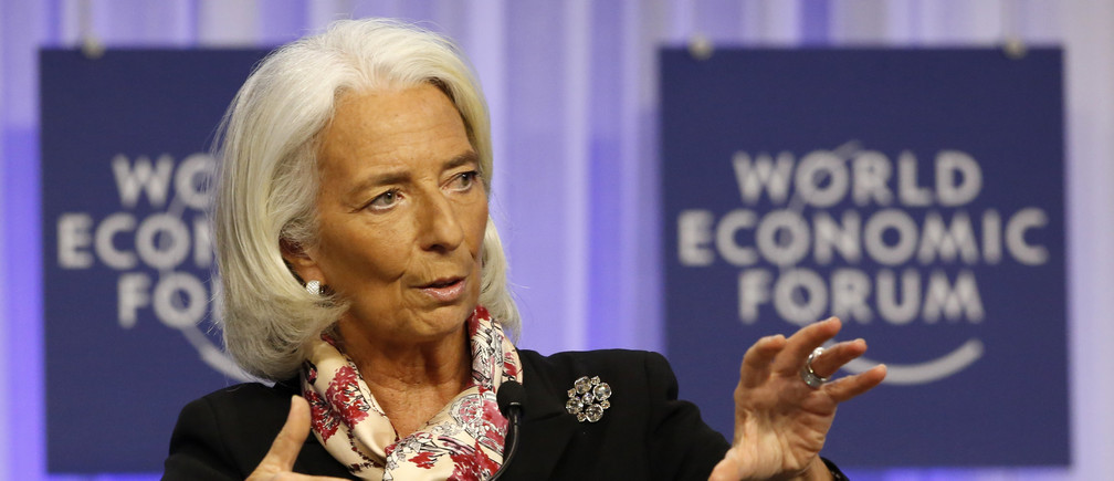 Christine Lagarde, Managing Director of the International Monetary Fund (IMF) speaks during a session at the World Economic Forum (WEF) in Davos women business businesswoman businessman corporation corporate finance wall street stock exchange capitalism private ownership board c-suite CEOs CFOs corporation united states us america wall street change gender parity equality goldman sachs davos industry representation fair finance fiscal financial economics economies trading trade price money profit value men male female change changing 2020 future taxation tax wealth gross domestic product gdp  politics democracy capitalism socialism fairness economics government govern administration system power voting votes elections electing faith trust electorate legislature house of commons house of lords congress senate house of representative prime minister government cabinet president executive legislative