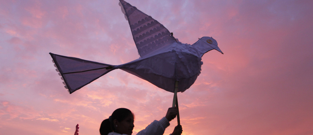 A woman holds a paper dove during a march to mark the International Day for the Elimination of Violence against Women in Lima November 23, 2011.  REUTERS/Mariana Bazo (PERU - Tags: SOCIETY) - GM1E7BO0Q6T01