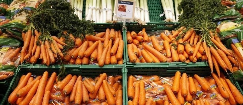 Carrots grown in France are displayed at the vegetables section at the Carrefour supermarket in Lille, France, November 5, 2015.