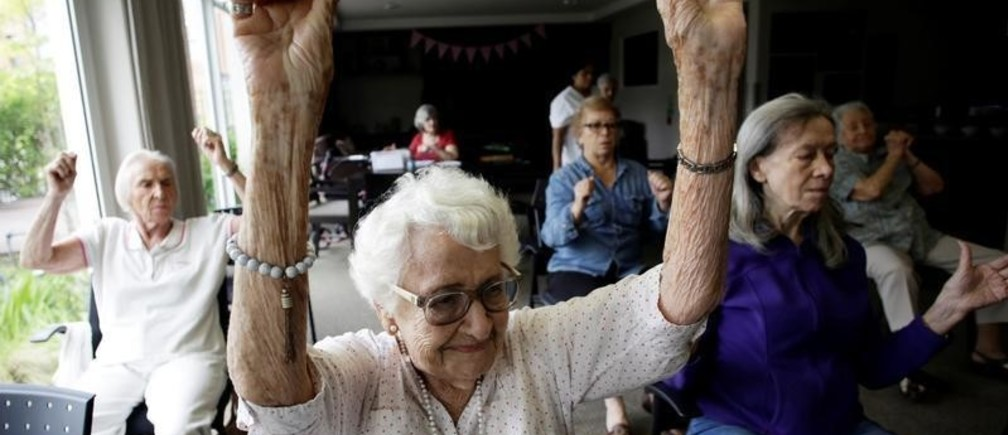Elderly women take part in an exercise class in the Verdeza building complex for seniors, in San Jose, Costa Rica October 15, 2018. REUTERS/Juan Carlos Ulate - RC126F006AE0