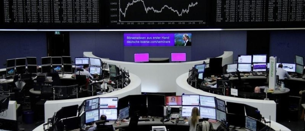 The German share price index, DAX board, is seen at the stock exchange in Frankfurt, Germany, February 16, 2018.    REUTERS/Staff/Remote - RC128A9640F0