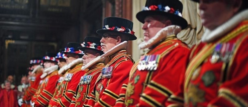 Yeomen of the Guard line up during the ceremonial search, ahead of the State Opening of Parliament by Queen Elizabeth II, in the House of Lords at the Palace of Westminster in London, Britain October 14, 2019. Victoria Jones/Pool via REUTERS - RC1E49D63BA0