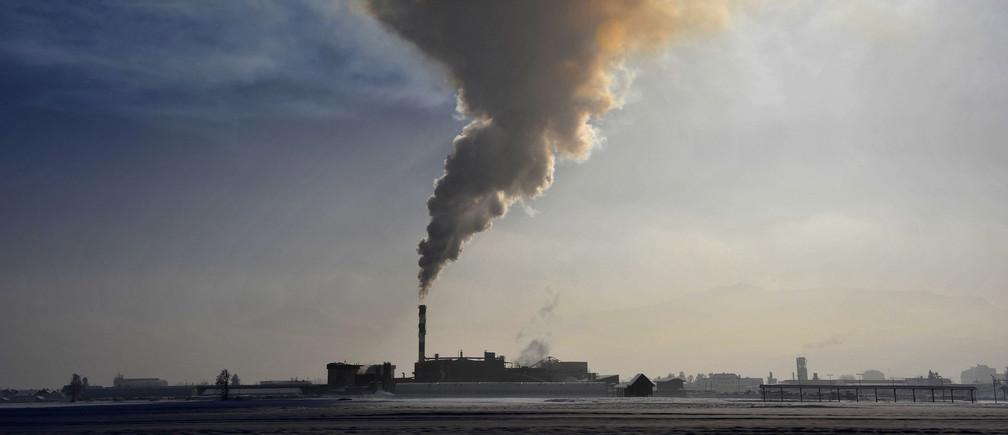Smoke billows from a chimney of the Termika factory in Skojfa Loka January 21, 2010.