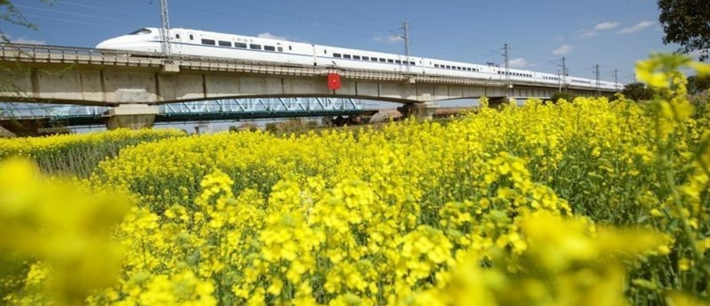 A high-speed bullet train travels past a rapeseed or canola field in Haian, Jiangsu province, China March 22, 2019. REUTERS/Stringer  ATTENTION EDITORS - THIS IMAGE WAS PROVIDED BY A THIRD PARTY. CHINA OUT. - RC1C5E9E3A20