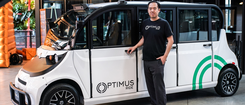 CEO and Co-founder Ryan Chin poses as Optimus Ride launches a self-driving car at the Brooklyn Navy Yard in the Brooklyn borough of New York City, U.S., August 5, 2019. Picture taken August 5, 2019. REUTERS/Jeenah Moon - RC1D1509CAA0