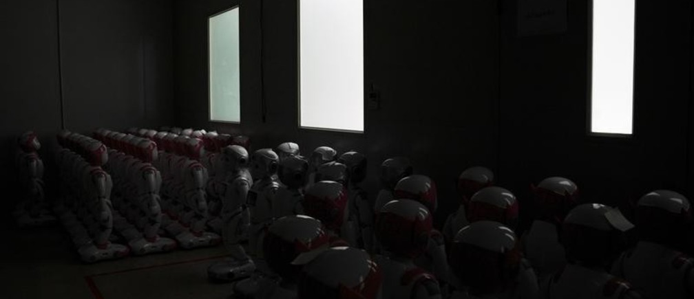 iPal social robots, designed by AvatarMind, are seen at an assembly plant in Suzhou, Jiangsu province, China July 4, 2018. Designed to offer education, care and companionship to children and the elderly, the 3.5-feet tall humanoid robots come in two genders and can tell stories, take photos and deliver educational or promotional content. Picture taken July 4, 2018. REUTERS/Aly Song - RC1197F8D350