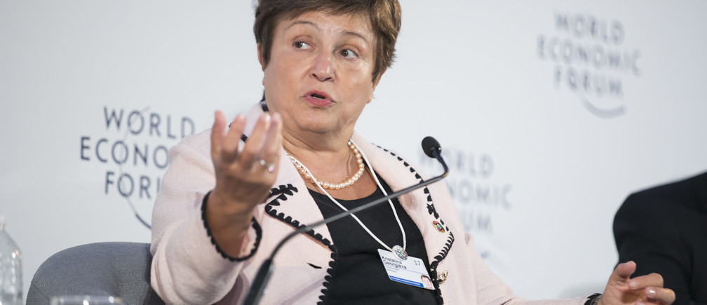 """Kristalina Georgieva, Chief Executive Officer, The World Bank, Washington DC, speaks at the plenary session, """"Answering the Call for Business Leadership."""" The World Economic Forum holds the Sustainable Development Impact Summit 2017 in New York, NY USA. Copyright by World Economic Forum / Ben Hider"""