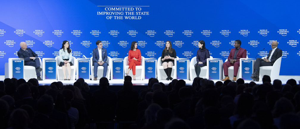 """Klaus Schwab, Founder and Executive Chairman, World Economic Forum, Basima Abdulrahman, Founder and Chief Executive Officer, KESK Green Building Consulting, Iraq; Cultural Leader, Juan David Aristizabal, President and Co-Founder, Los Zœper, Noura Berrouba, Member of the Governing Body, European Youth Parliament, Julia Luscombe, Director, Strategic Initiatives, Feeding America, USA, Akira Sakano, Chair, Board of Directors, Zero Waste Academy Japan, Japan, Mohammed Hassan Mohamud, Zonal Chairman, Kakuma, Kenya and Satya Nadella, Chief Executive Officer, Microsoft Corporation, USA during the Session """"Shaping Globalization 4.0"""" at the Annual Meeting 2019 of the World Economic Forum in Davos, January 22, 2019. Congress Cenre - Congress Hall. Copyright by World Economic Forum / Valeriano Di Domenico"""