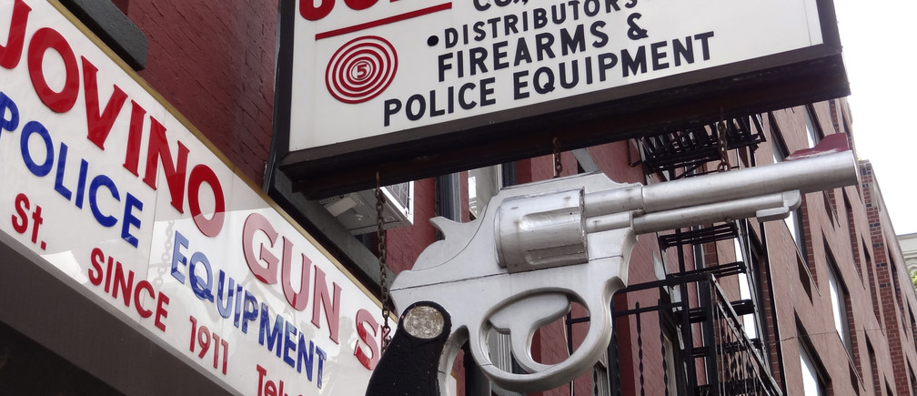 View of John Jovino firearms and police equipment shop in Manhattan, New York , August 5, 2012. Located in Little Italy, this store is the oldest gun retailer in New York City and claims to be the oldest gun shop in the U.S.      REUTERS/Charles Platiau (UNITED STATES - Tags: TRAVEL) - PM1E8CK1GYI01
