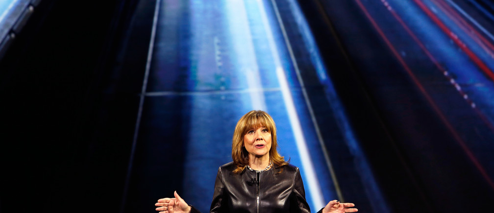 General Motors Chairman and CEO Mary Barra speaks during a keynote address at the 2016 CES trade show in Las Vegas, Nevada January 6, 2016