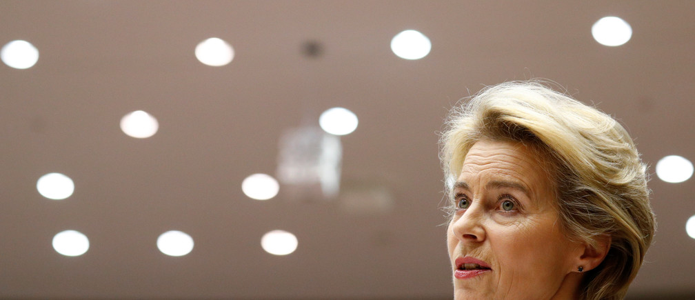European Commission President Ursula von der Leyen speaks during an extraordinary session to present a Green Deal plan, at the European Parliament in Brussels, Belgium December 11, 2019. REUTERS/Francois Lenoir - RC21TD9UA9PS