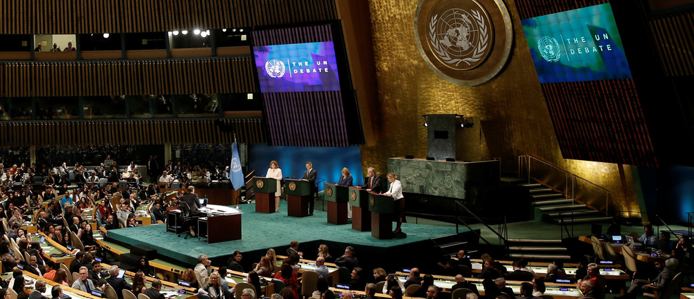 Candidates vying to be the next United Nations Secretary General debate in the General Assembly at U.N. headquarters in Manhattan