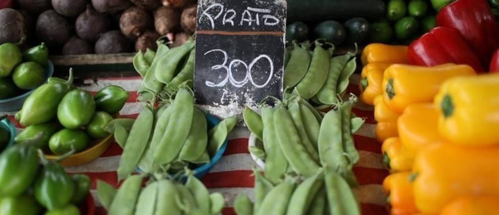 Food is displayed at a street market in Rio de Janeiro, Brazil September 4, 2018.