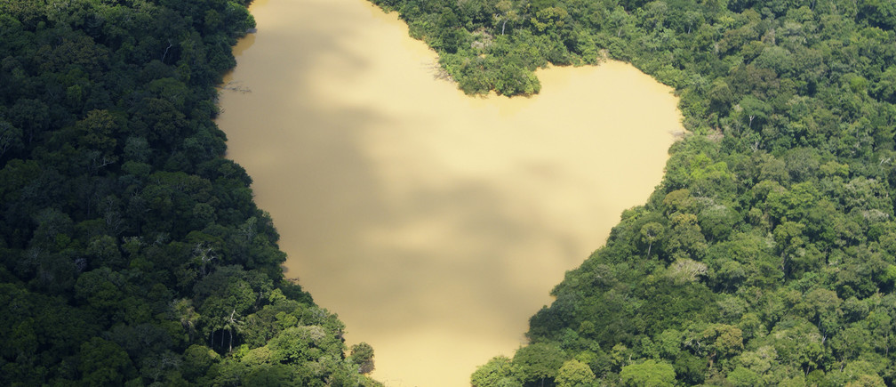 An aerial view of a natural lake fed by a spring in the Amazon River basin near Manaus, September 30, 2010. REUTERS/Ivan Canabrava (BRAZIL - Tags: ENVIRONMENT) - GM2E75C050P01