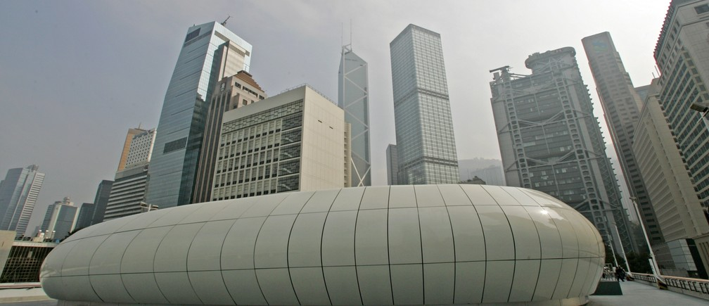 "An exterior view is seen of the futuristic pavilion created by British-Iraqi deconstructivist architect Zaha Hadid for Chanel's ""Mobile Art"" exhibition, placed in the Hong Kong's Central district February 26, 2008."