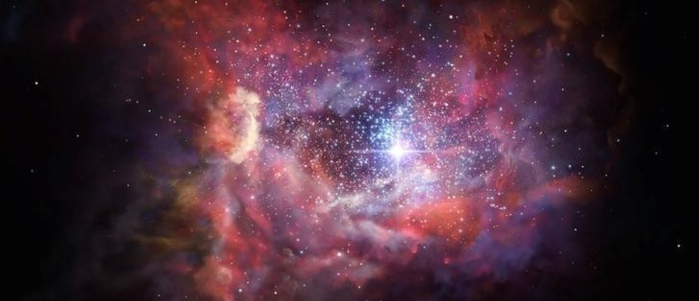 An artist's impression released March 8, 2017 shows what the very distant young galaxy A2744_YD4 might look like. Observations using  Atacama Large Millimeter/submillimeter Array (ALMA) have shown that this galaxy, seen when the Universe was just 4% of its current age, is rich in dust. Such dust was produced by an earlier generation of stars and these observations provide insights into the birth and explosive deaths of the very first stars in the Universe. The ALMA observations also detected the glowing emission of ionised oxygen from A2744_YD4. This is the most distant, and hence earliest, detection of oxygen in the Universe.