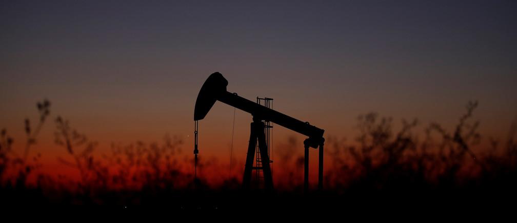 An oil pump is seen just after sunset outside Saint-Fiacre, near Paris, France September 17, 2019.